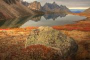 Talus Prints - Tombstone Mountain Reflected In Talus Print by Robert Postma