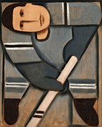Hockey Painting Metal Prints - Tommervik Cubism Hockey Player Metal Print by Tommervik