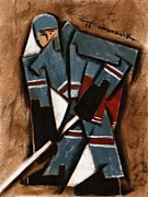 Hockey Painting Metal Prints - Tommervik Hockey Player Metal Print by Tommervik