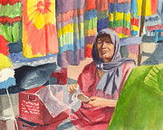 Guadalajara Mexico Paintings - Tonala Market by Faythe Mills