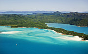 Whitsunday Photos - Tongue Point And Whitehaven Beach In Whitsunday Islands National Park, Queensland, Australia by Peter Walton Photography