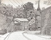 Shops Drawings Prints - Tongue Row Ellicott City Print by Calvert Koerber