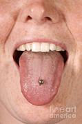 Body Piercing Prints - Tongue Print by Ted Kinsman
