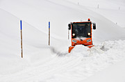 Conditions Photo Posters - Tons of snow - winter road clearance Poster by Matthias Hauser