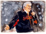 World Series Drawings Prints - Tony Bennett sings God Bless America at World Series Print by Dave Olsen