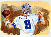 Nfl Drawings Prints - Tony Romo Print by Dave Olsen