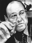 Portrait Drawings Originals - Tony Soprano at the Bing by Jason Kasper