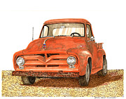 Up Painting Prints - Tonys 1955 Ford F-100 Pick Up Print by Jack Pumphrey
