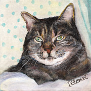 Tabby Paintings - Tonys Grey Tabby Cat by Penny Stewart