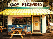Picnic Table Framed Prints - Tonys Pizzaria Framed Print by Ron Regalado