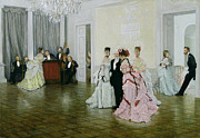 Dancing Couples Paintings - Too Early by James Jacques Joseph Tissot