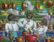 Humor Painting Prints - Too Many Cooks Print by Eva Folks