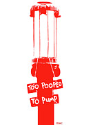 Marian Cates Metal Prints - Too-Pooped-To-Pump Red Vintage Gas Pump Metal Print by Marian Cates