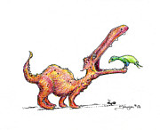 Dinosaur Drawings Originals - Toothache by Mark Johnson