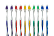 Rainbow Row Posters - Toothbrushes Poster by Olivier Le Queinec