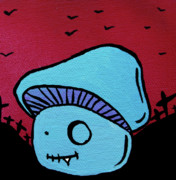 Tooth Mixed Media Prints - Toothed Zombie Mushroom Print by Jera Sky