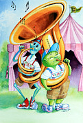 Illustrator Metal Prints - Tooting a Tuba For Two Metal Print by Hanne Lore Koehler
