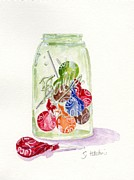 Canning Jar Framed Prints - Tootsie Pop Jar Framed Print by Sheryl Heatherly Hawkins