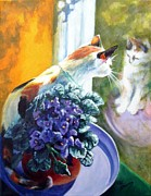 Oil Cat Paintings - Tootsie Too by Pat Burns