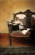 Leather Gloves Prints - Top Hat and Cane on Sofa Print by Jill Battaglia
