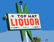 Old Signs Posters - Top Hat Liquor Poster by Charlette Miller