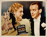 1930s Movies Metal Prints - Top Hat, Lobbycard, Ginger Rogers, Fred Metal Print by Everett