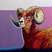 Featured Painting Prints - Top Heavy Big Horn Print by Joe  Triano