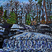 Falls Paintings - Top of Bridal Veil Falls by Micah Mullen