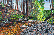 Mosaic Paintings - Top of Dingman Falls by Micah Mullen