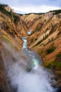 The Grand Canyon Of The Yellowstone Framed Prints - Top of Lower Falls Framed Print by Robert Bales