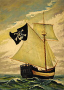 Pirates Pastels Posters - Top Sail Gaff-Rigged Sloop Poster by Gerald Swift