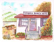 No People Painting Framed Prints - Topanga-Ranch-Motel-California Framed Print by Carlos G Groppa