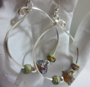 Modern Jewelry Originals - Topaz and silver hoops by Janet  Telander