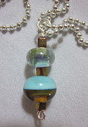 Gold Abstract Jewelry Originals - Topaz and Turquoise Necklace by Janet  Telander