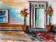 Doorway Drawings Framed Prints - Topiaries Left and Right Framed Print by John  Williams