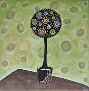 Folk  Paintings - Topiary 1 by Rain Ririn
