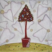 Folk  Paintings - Topiary 2 by Rain Ririn