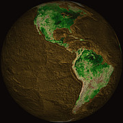 Planet Map Prints - Topographic Map Of Earth Print by Stocktrek Images