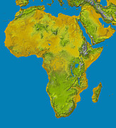 Cartography Photos - Topographic View Of Africa by Stocktrek Images