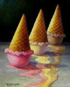 Ice-cream Paintings - Toppled Triple Treat by Tanja Ware
