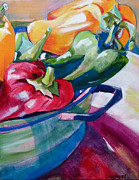 Suzanne Willis Metal Prints - Toppling Bell Peppers Metal Print by Suzanne Willis