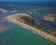 Topsail Island Framed Prints - Topsail Island Aerial Framed Print by East Coast Barrier Islands Betsy A Cutler