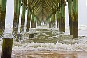Topsail Prints - Topsail Island Pier Print by Betsy A Cutler East Coast Barrier Islands