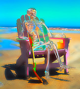 Human Skeleton Digital Art - Topsail Island Sandcastle Pirate by Betsy A Cutler East Coast Barrier Islands