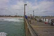 Topsail Island Sc Pier Print by Betsy A Cutler Islands and Science