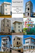 Topsail Island Posters - Topsail Island Towers Poster by Betsy A Cutler East Coast Barrier Islands
