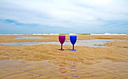 Calm Art - Topsail Island Wine Glasses by Betsy A Cutler East Coast Barrier Islands
