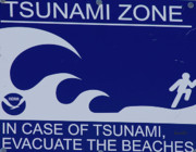 Topsail Island Posters - Topsail Islands Tsunami Zone Sign Poster by East Coast Barrier Islands Betsy A Cutler