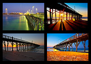 Surf City Posters - Topsail Piers at Sunrise Poster by Betsy A Cutler East Coast Barrier Islands