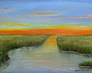 Topsail Island Painting Prints - Topsail Sound At Sunset Print by Karen Critcher